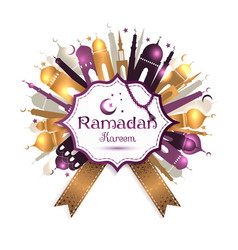 Ramadan Kareem frame with mosque vector