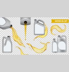 Realistic motor oil transparent icon set vector