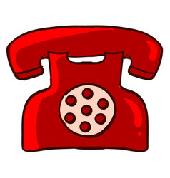 red retro telephone on white background vector image