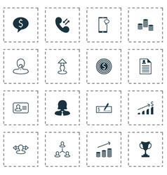 resources icons set with curriculum vitae graph vector image