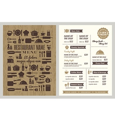Restaurant menu with silhouette kitchen utensils vector image