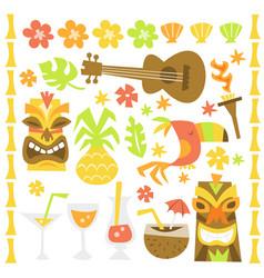 retro hawaiian luau tiki party design elements vector image