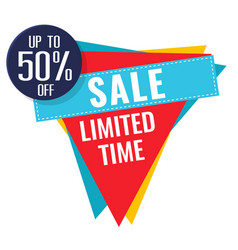sale limited time up to 50 off triangle backgroun vector image