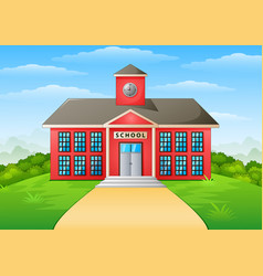 School building and path vector