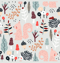 Seamless autumn pattern with squirrel mushrooms vector
