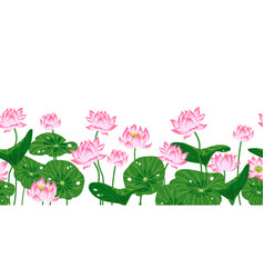 Seamless border with pink lotuses vector