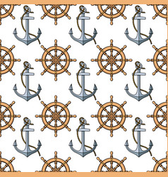 seamless pattern with anchors and ships wheels vector image