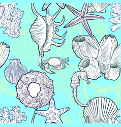 Seamless pattern with seashells vector