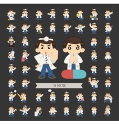 Set of doctor characters poses eps10 form vector image
