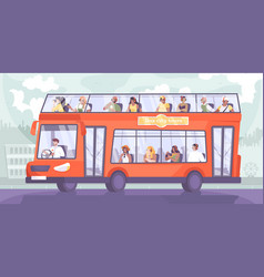 sightseeing bus excursion composition vector image