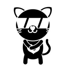 Silhouette happy cat cute feline animal with vector
