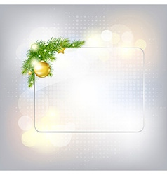 Silver New Year Gard With Glass Frame vector image