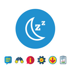 Sleep sign icon moon with zzz button vector