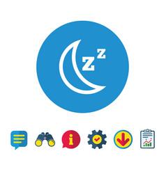 sleep sign icon moon with zzz button vector image