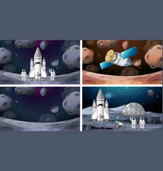 Space scenes with rockets on mars vector