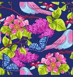Spring garden seamless pattern natural vector