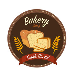 sticker emblem fresh bread bakery vector image