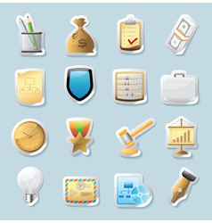 Sticker icons for business and finance vector image