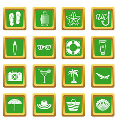 Summer rest icons set green vector