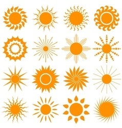 sun icon collection vector image