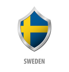 Sweden flag on metal shiny shield vector