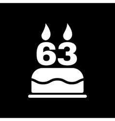 The birthday cake with candles in the form of vector
