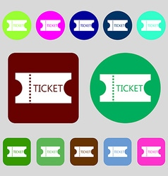 ticket icon sign 12 colored buttons Flat design vector image