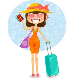 Traveling woman vector