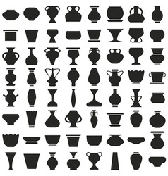 Vases and pots of icons on white vector