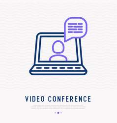 video conference thin line icon vector image