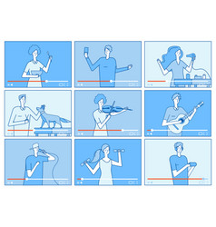 video tutorials people bloggers on video screen vector image