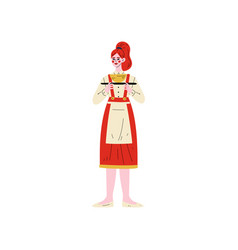 waitress standing with tray hotel staff character vector image