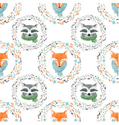 Watercolor cute animal pattern vector