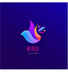 wavy abstract colorful bird abstract logo vector image