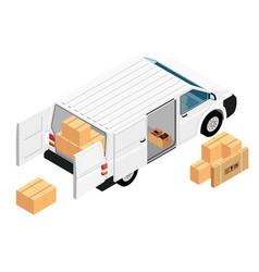 white minivan cargo delivery van deliver vector image