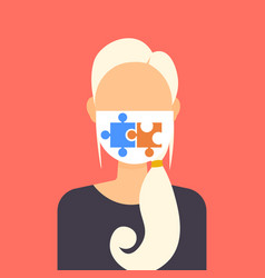 woman wearing protective face mask with puzzle vector image