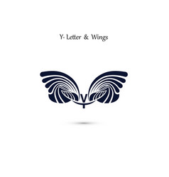 Y letter sign and angel wings monogram wing logo vector