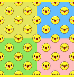 Yellow emoji seamless pattern set on a color vector