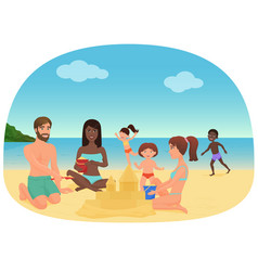 adults and children making sandcastles and having vector image vector image
