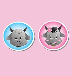 buffalo male and female taxt vector image vector image