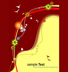 floral red-yellow background invitation card vector image vector image