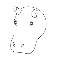 hippopotamus icon in outline style isolated on vector image vector image