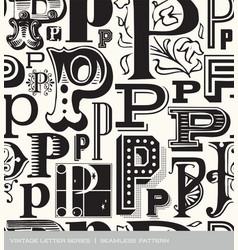 seamless vintage pattern letter P vector image vector image