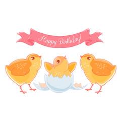 two funny cartoon chick congratulations newborn vector image vector image