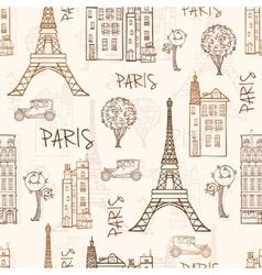 Vintage Brown Paris Streets Travel Seamless vector image