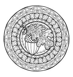 Mandala autumn oak leaf ornament vector image