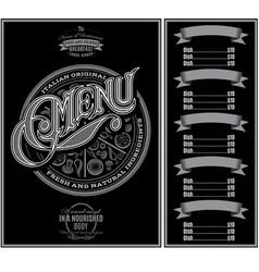 pattern for menu pizza over black background vector image