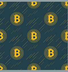 seamless gold bitcoin pattern cryptocurrency with vector image