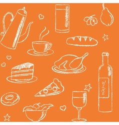 Seamless pattern with doodle food and drinks vector image