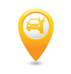car service icon on yellow map pointer vector image vector image